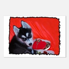 Valentine's Husky Puppy Postcards (Package of 8)