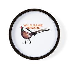 WILD GAME BEWARE Wall Clock