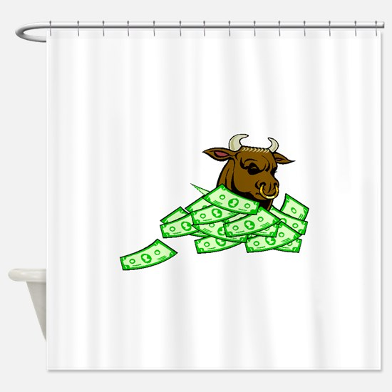 Bull With Money Shower Curtain