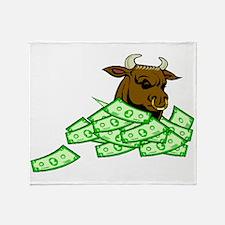 Bull With Money Throw Blanket