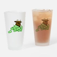 Bull With Money Drinking Glass