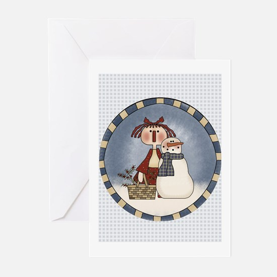 Annie and Snowman Greeting Cards (Pk of 10)