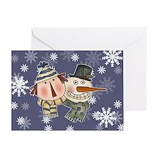 Ragdoll and Snowman Greeting Card