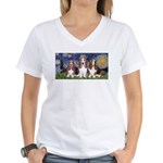 Starry Basset Women's V-Neck T-Shirt