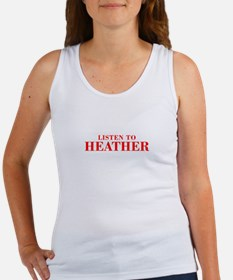 LISTEN TO HEATHER-Bod red 300 Tank Top