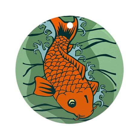 Koi fish pond splash ornament round by pounddesigns for Koi fish ornament