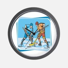 Hockey Players On Ice Wall Clock