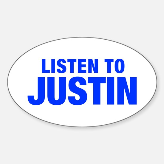 LISTEN TO JUSTIN-Hel blue 400 Decal