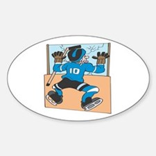 Hockey Player Meets The Wall Oval Decal
