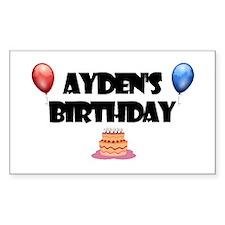 Ayden's Birthday Rectangle Decal