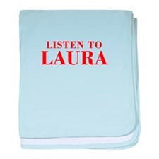 LISTEN TO LAURA-Bod red 300 baby blanket