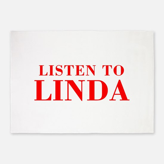 LISTEN TO LINDA-Bod red 300 5'x7'Area Rug
