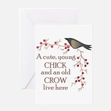 CUTE CHICK & OLD CROW Greeting Cards