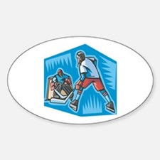 Hockey Player & Goalie Oval Decal