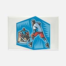Hockey Player & Goalie Rectangle Magnet