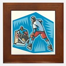 Hockey Player & Goalie Framed Tile