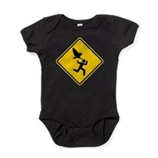 Owl Attack Warning (No Lanes) 2 colo Baby Bodysuit