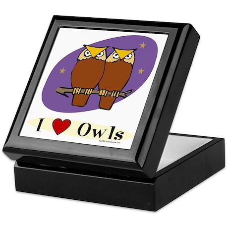 Owl Tile-Top Keepsake Box: I [heart] Owls
