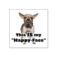 "Cute Dog happy face Square Sticker 3"" x 3"""