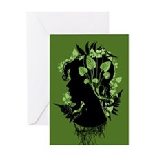 Woman With Leaves Greeting Cards