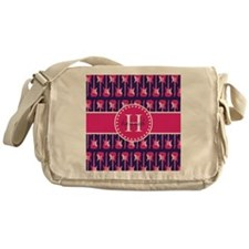 Monogrammed Hot Pink and Navy Guitar Messenger Bag