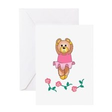 BALLERINA BEAR WITH ROSES Greeting Cards