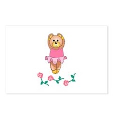 BALLERINA BEAR WITH ROSES Postcards (Package of 8)