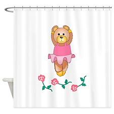 BALLERINA BEAR WITH ROSES Shower Curtain