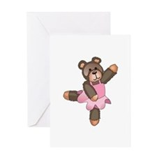 TEDDY BEAR BALLERINA Greeting Cards