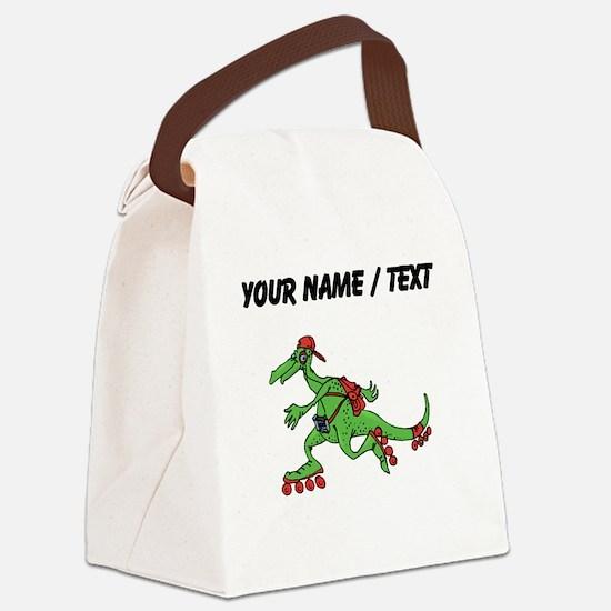 Custom Dinosaur Roller Skating Canvas Lunch Bag