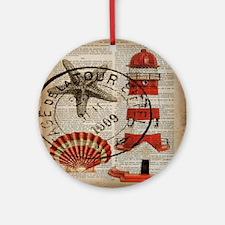 vintage lighthouse sea shells Round Ornament
