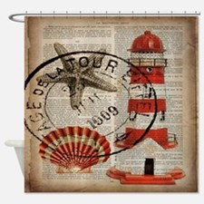 vintage lighthouse sea shells Shower Curtain