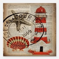 "vintage lighthouse sea s Square Car Magnet 3"" x 3"""