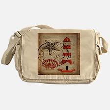 vintage lighthouse sea shells Messenger Bag
