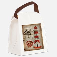 vintage lighthouse sea shells Canvas Lunch Bag