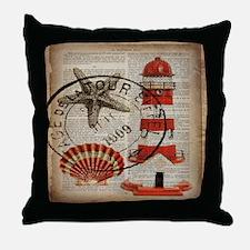 vintage lighthouse sea shells Throw Pillow