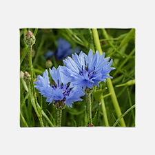 blue summer cornflower Throw Blanket