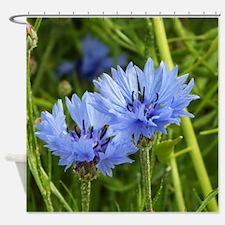 blue summer cornflower Shower Curtain