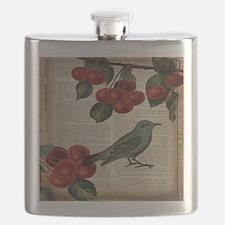 botanical print bird cherry Flask