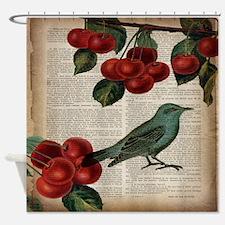 botanical print bird cherry Shower Curtain
