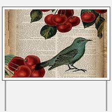 botanical print bird cherry Yard Sign