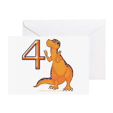 Kids Dino 4th Birthday Invitation Card