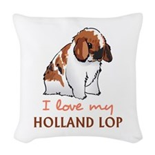 I Love My Holland Lop Woven Throw Pillow
