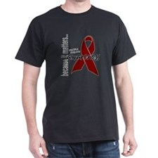Cute Myeloma burgundy ribbon T-Shirt