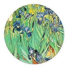 Van Gogh's Irises Round Car Magnet