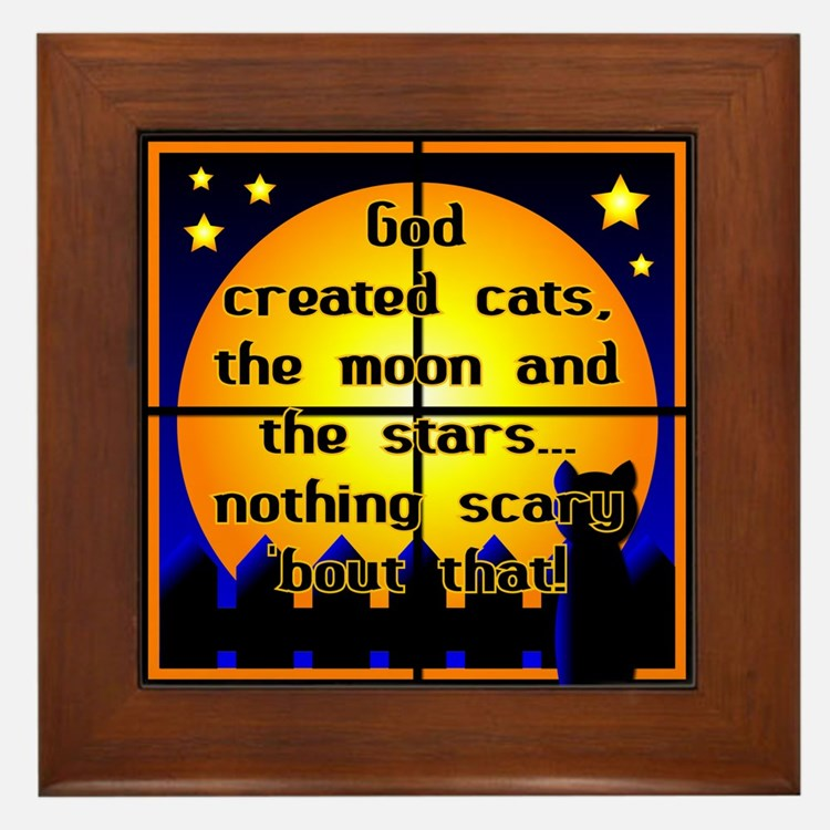 God Created Black Cats Framed Tile