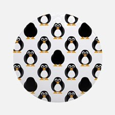 Cute Penguin Pattern Round Ornament