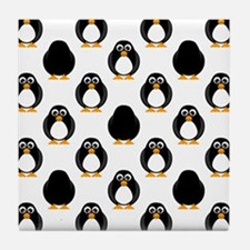 Cute Penguin Pattern Tile Coaster