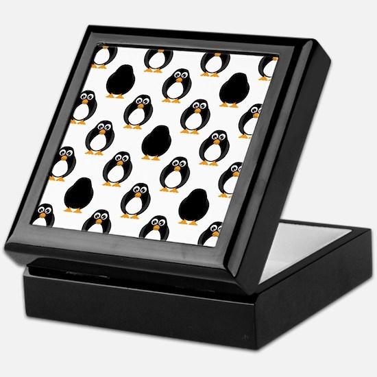 Cute Penguin Pattern Keepsake Box