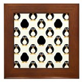 Cute penguin orange pattern Framed Tiles